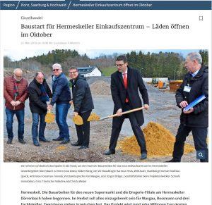 Baustart für Hermeskeiler Einkaufszentrum – Läden öffnen im Oktober