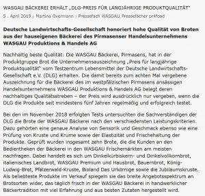 "WASGAU Bäckerei erhält ""DLG-Preis für langjährige Produktqualität"""